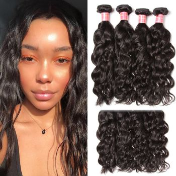 Donmily 9A Grade Natural Wave 4 Bundles Human Hair Weft Natural Color 95-100g/PC