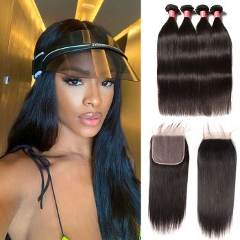 Donmily Brazilian Straight Human Virgin Hair 4 Bundles With Free Part 7x7 Lace Closure