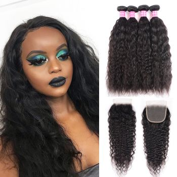 Donmily 4 bundles Super Wave 100% Human Virgin Hair with 4x4 Free Part Lace Closure