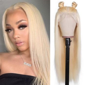 Malaysian 360 Lace Frontal Straight Wig 180% Density Blond 613 Color