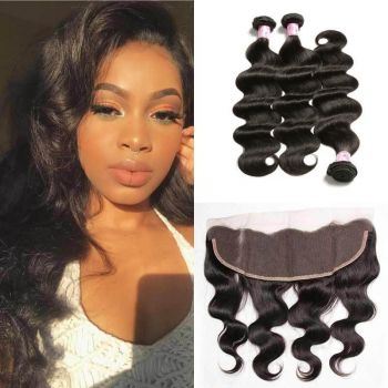 Virgin Indian Body Wave Hair Weave 3 Bundles with 13*4 Lace Frontal
