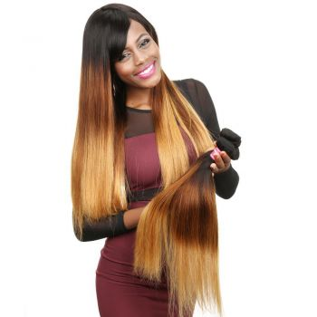 Donmily 1 Bundle Ombre Straight Human Hair Three Tone T1B/4/27 Ombre Hair Weave