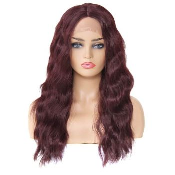 Donmily Body Wave Middle Part Synthetic Lace Front Wig 99J#