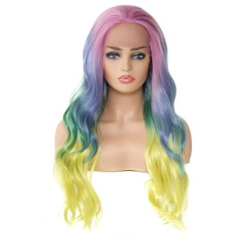 Donmily Synthetic Wigs For Cosplay Body Wave Color Aurora#