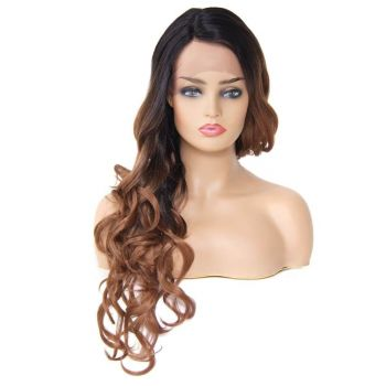 Donmily Romance Curl Synthetic Ombre Lace Front Wig Side Part