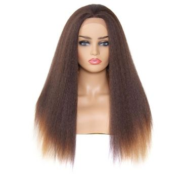 Donmily Kinky Straight Synthetic Wig Ombre Color 4/27/30#