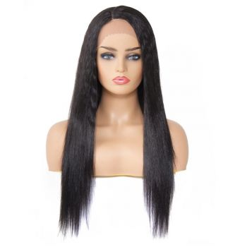 Donmily Long Synthetic Straight Hair Wigs Lace Front Wigs Black Color