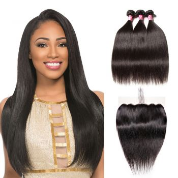 Donmily Straight Remy Hair 3 Bundles with 13x6 Lace Frontal