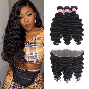 Donmily 13x4 Loose Deep Wave Frontal With 3Bundles Natural Color