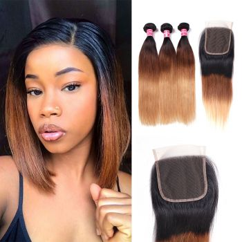 Donmily 1b/4/27 Ombre Hair Color Straight Hair 3Bundles With Closure