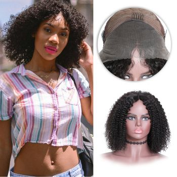 Donmily Bob kinky curly hair 130 % 150% Density 13*4 lace front wig the most natural Looking virgin human hair