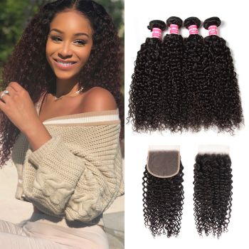 Donmily Jerry Curly Human Hair 4 Bundles with 5x5 Lace Closure Sew In