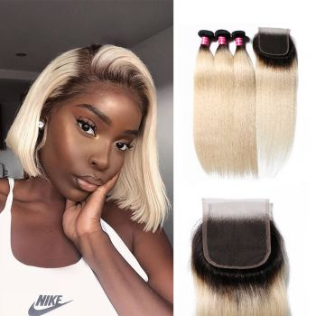 Donmily 1B/613 Blonde Ombre Color Straight Hair 3 Bundles With Lace Closure