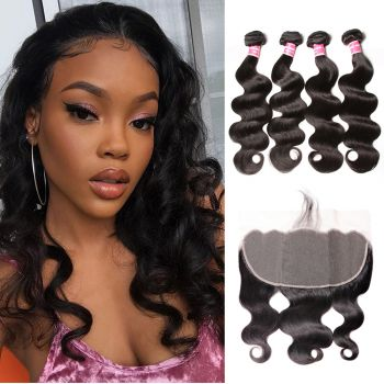 Donmily 13x6 Lace Frontal And 4 Bundles Body Wave Human Hair