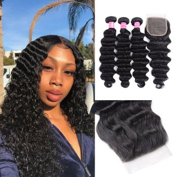 Donmily Loose Deep Wave Human Hair 3Bundles With Closure For Women