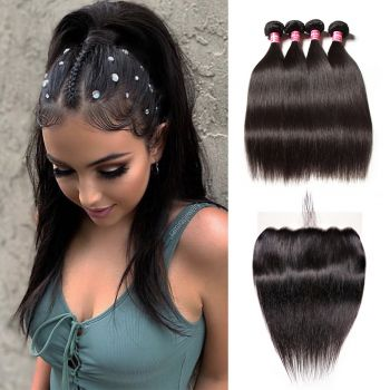 Donmily 13x6 Lace Frontal With 4 Bundles Straight Human Hair