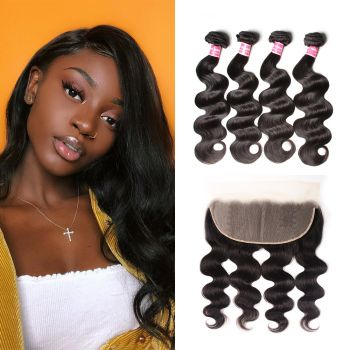 Donmily Human Hair 13*4 Lace Frontal Closure With 4 Bundles  Body Wave