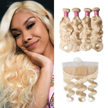 Donmily Body Wave 613 Blonde Hair 4 Bundles With Lace Frontal