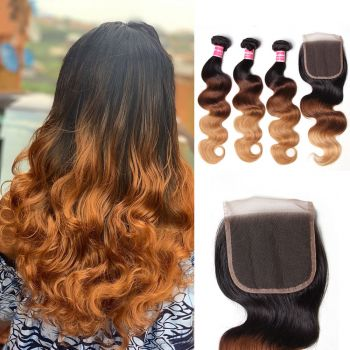 Donmily Ombre Body Wave 4Bundles Virgin Hair With Closure 1b/4/27