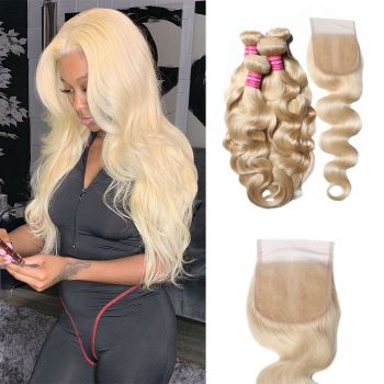 Donmily 4 Bundles Body Wave Lace Closure With 613 Blonde Human Hair