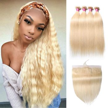 Donmily 4 Bundles Deals With 613 Blonde Straight Lace Frontal