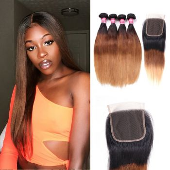 Donmily Ombre Straight Hair 1b/4/27 Color 4Bundles With Lace Closure
