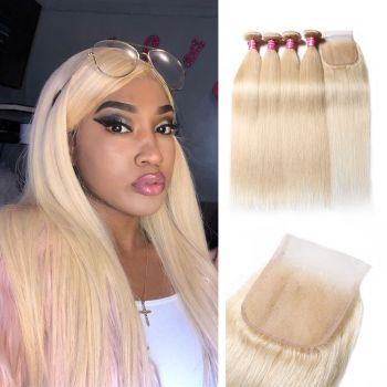 Donmily Straight Human Hair Weave 613 Blonde 4 Bundles With Lace Closure