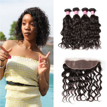 "13""X4"" Free Part Lace Frontal Closure With 4Bundles Natural Wave Virgin Hair"