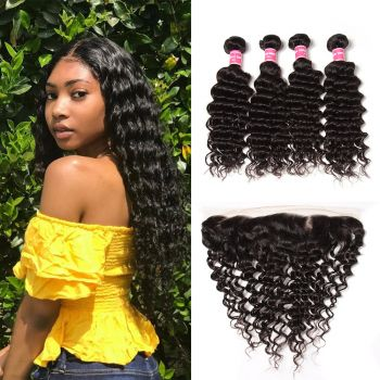 """Donmily 12""""-26"""" Lace Frontal Closure With 4Bundles Deals Deep Wave Human Hair"""