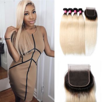 Donmily Straight 1B/613 Ombre Hair 4 Bundles with Lace Closure