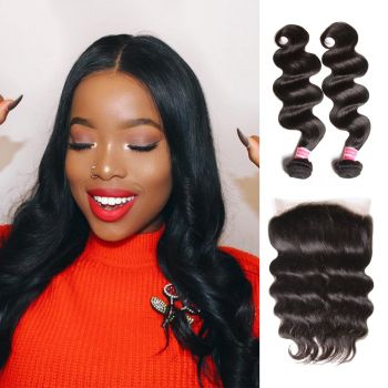 Donmily Body Wave 2 Bundles with 360 Lace Frontal  Virgin Human Hair Weave