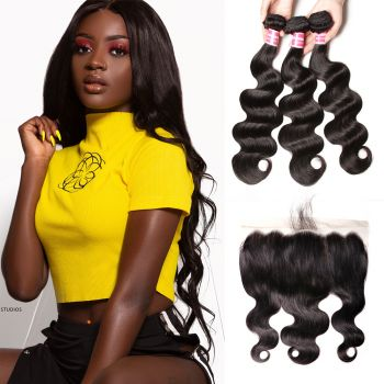 Donmily Body Wave 3 Bundles Deals With 13x6 Lace Frontal