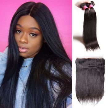 Donmily Straight 360 Lace Frontal Closure with 2 Bundles Virgin Hair