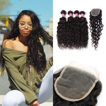 Donmily Brazilian Water Wave 4 Bundles with 4x4 Closure