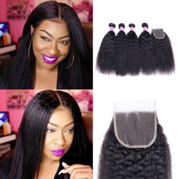 Donmily Kinky Straight 4 Bundles With Closure 4X4 Inch Raw Virgin Hair