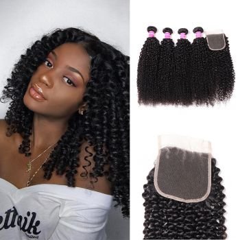Donmiy Kinky Curly Hair 4 Bundle Deals With Lace Closure 4X4 Inch