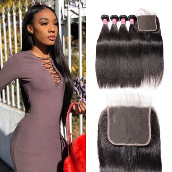 Donmily Straight Human Hair 4 Bundles with 5x5 Lace Closure Sew In