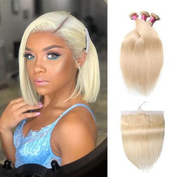 Donmily Straight 613 Blonde 3 Bundles With 13*4 Lace Frontal