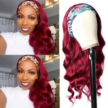 Donmily Burgundy Color Body Wave Human Hair Headband Wigs 99J Colored Wigs Natural Looking
