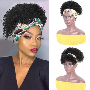 Headband Wigs Kinky Curly Short Wig With Removable Bangs