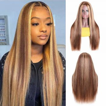 Donmily Honey Blonde Highlight Straight Hair Wigs Piano Color Long Fake Scalp PU Wigs 150% Density 16-24 Inch