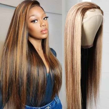 Donmily 13*4 Three Part Highlight Wigs T Part Lace Wigs
