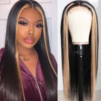 Donmily TL27 Fashion Highlight Straight Hair Wigs 4*0.75 Lace Part Wig Natural Looking Affordable Wig