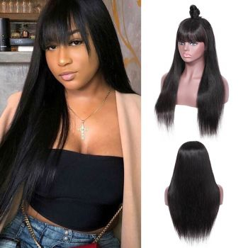 13x4 Transparant Lace Front Wig 130 Density Straight Hair With Bangs