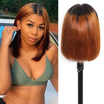 Straight BoB Wig 13*4 Lace Front Wig 130% Density T1B30 Color