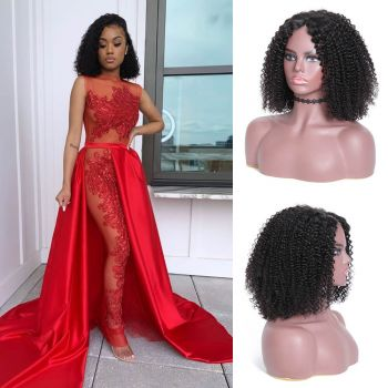 Bob Kinky Curly Hair 130% Density 13*4 Lace Front Wig