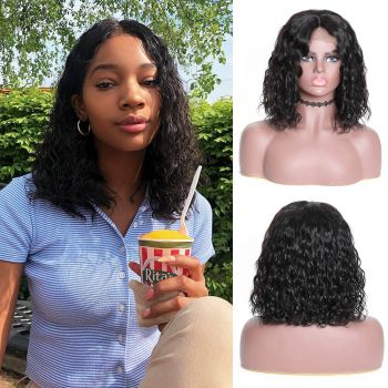 Bob Water Wave Hair 180% Density 13*4 Lace Front Wig