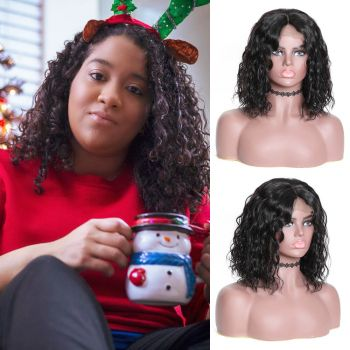 Bob Water Wave Hair 130% Density 13*4 Lace Front Wig