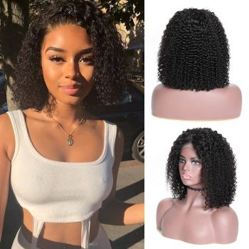 Donmily 13x4 Jerry Curly Bob Lace Front Wig 130% Density Virgin Human Hair