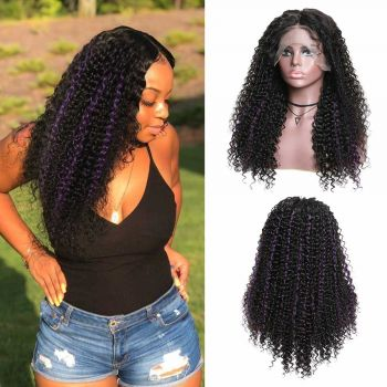 13x4 Jerry Curly Lace Front Wig 150 Density With Color TG Purple